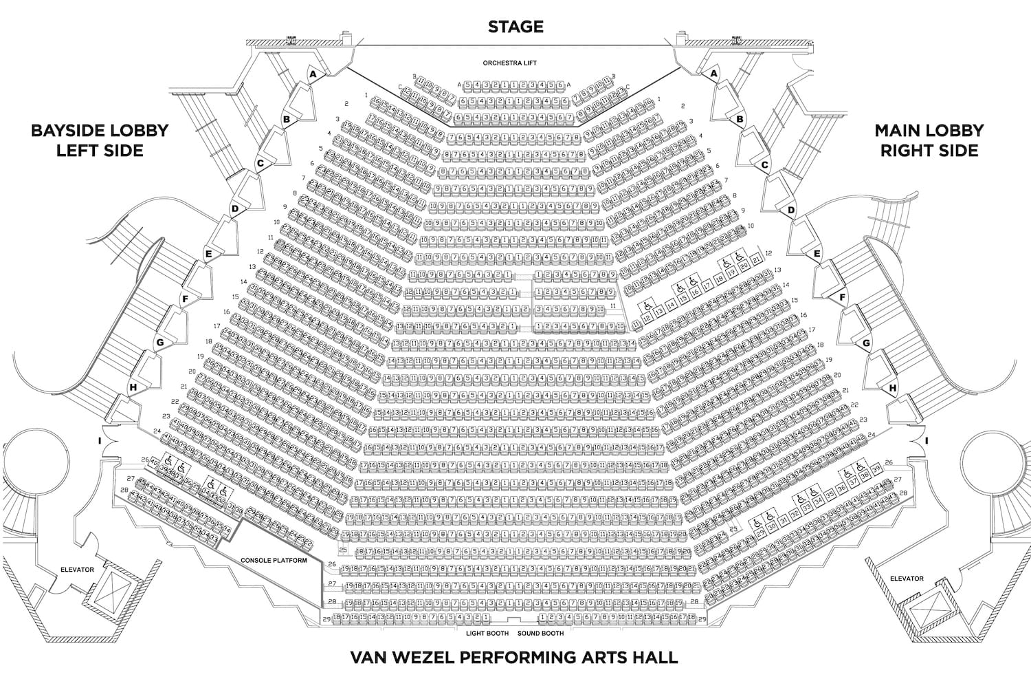 Seating Chart  Van Wezel Performing Arts Hall  Sarasota Fl